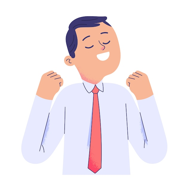Young businessman raised two hands and smiled in relief Premium Vector