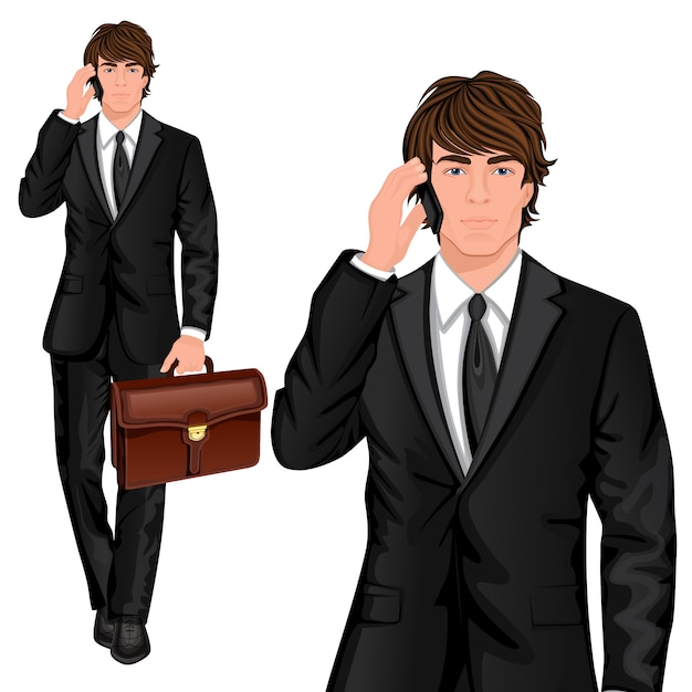 Young businessman standing character Premium Vector