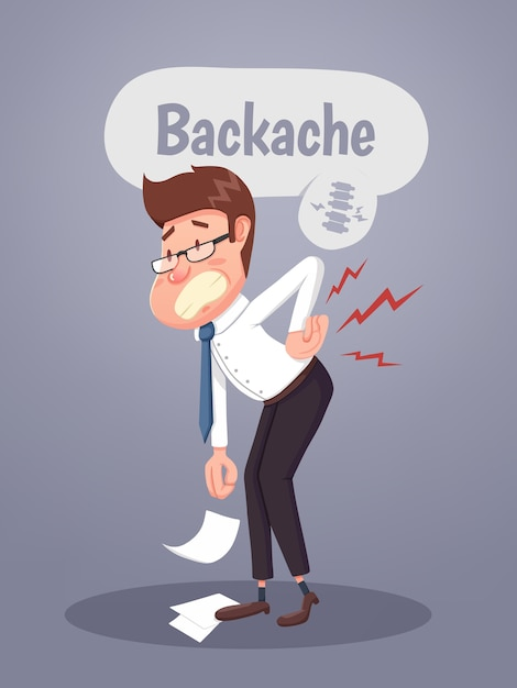 Young businessman suffering from back pain. vector illustration Premium Vector