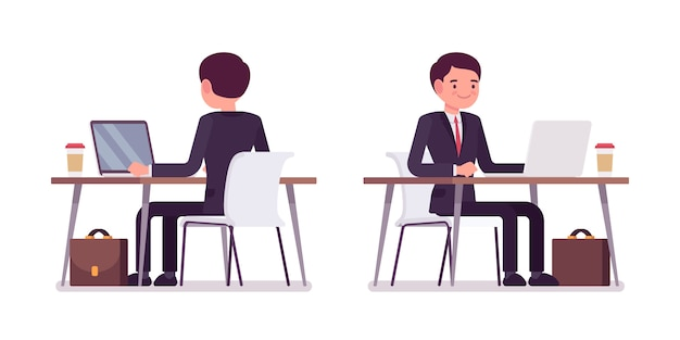 Young businessman working at the computer, rear and front view Premium Vector