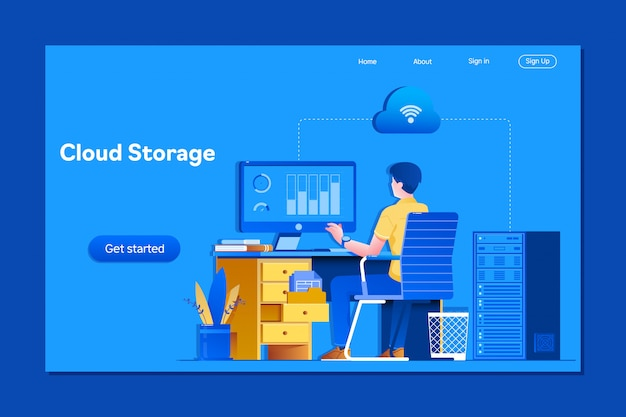 Young businessman working on computer Premium Vector