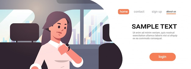 Young businesswoman looking at clock checking time business woman car passenger sitting on back seat in taxi cab city transportation service Premium Vector
