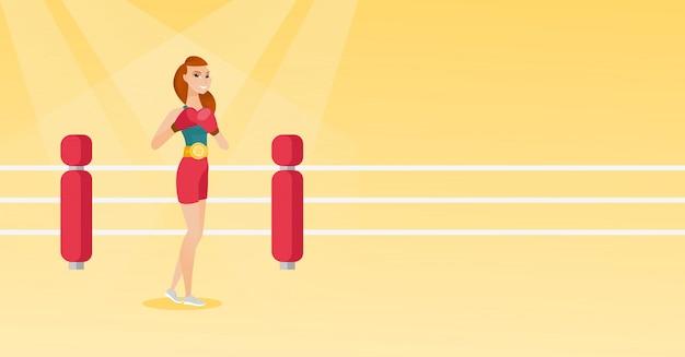 Young caucasian confident boxer in the ring. Premium Vector