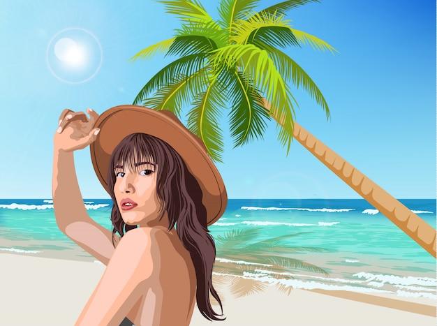 Giovane ragazza caucasica con cappello marrone in posa sulla spiaggia con palme verdi e mare sullo sfondo Vettore gratuito