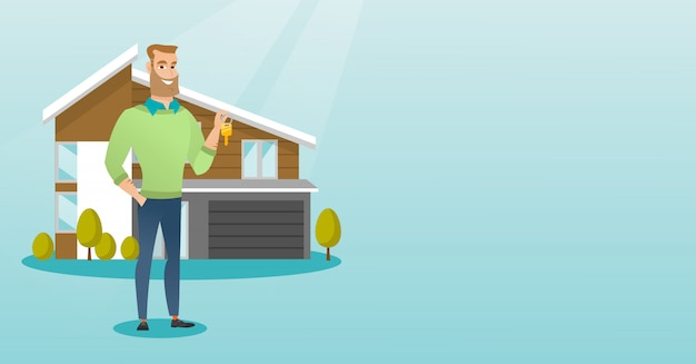 Young caucasian homeowner with key. Premium Vector