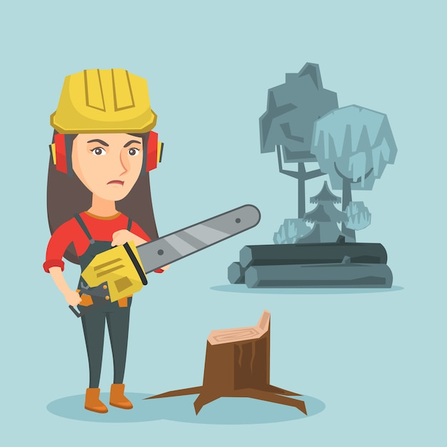 Young caucasian lumberjack holding a chainsaw. Premium Vector