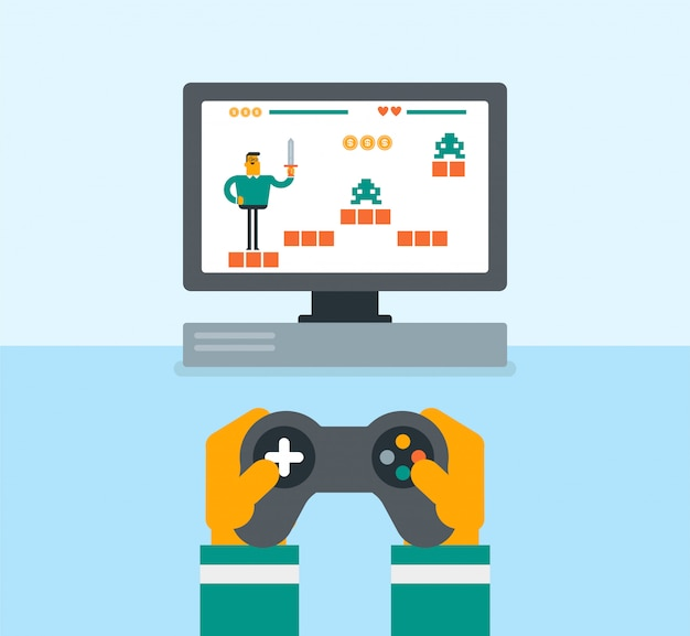 Young caucasian man playing video game. Premium Vector
