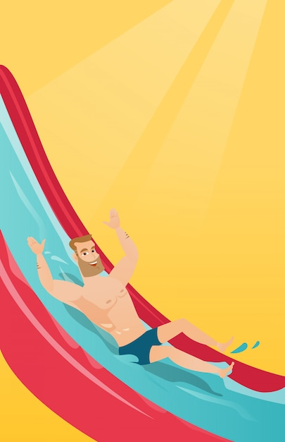 Young caucasian man riding down a waterslide Premium Vector