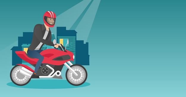 Young caucasian man riding a motorcycle at night. Premium Vector