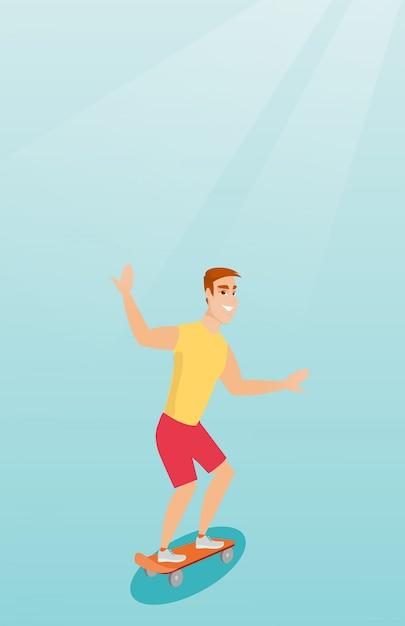 Young caucasian man riding skateboard. Premium Vector