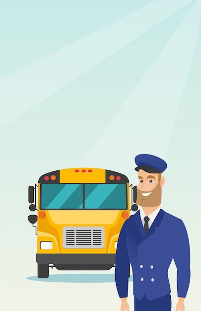 Young caucasian school bus driver. Premium Vector