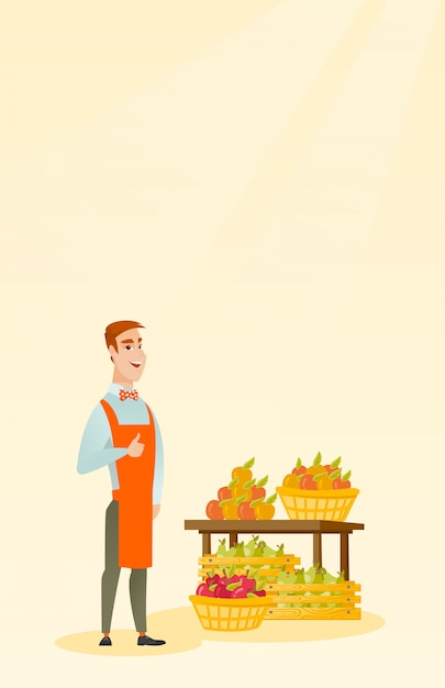 Young caucasian seller giving thumb up. Premium Vector