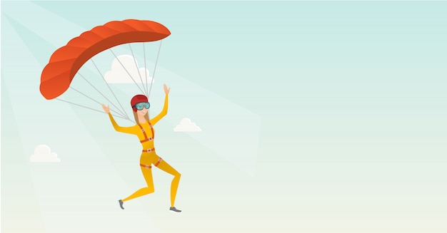 Young caucasian skydiver flying with a parachute Premium Vector