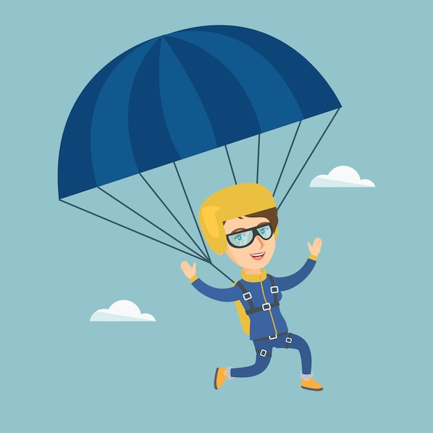 Young caucasian skydiver flying with a parachute. Premium Vector