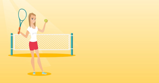 Young caucasian tennis player. Premium Vector