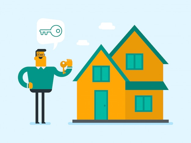 Young caucasian white homeowner holding key. Premium Vector
