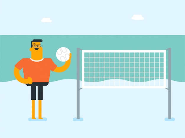 Young caucasian white man playing beach volleyball Premium Vector