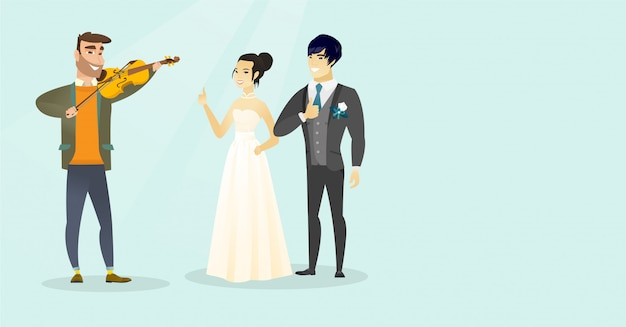 Young caucasian white man playing the violin. Premium Vector