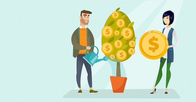 Young caucasian white man watering financial tree. Premium Vector