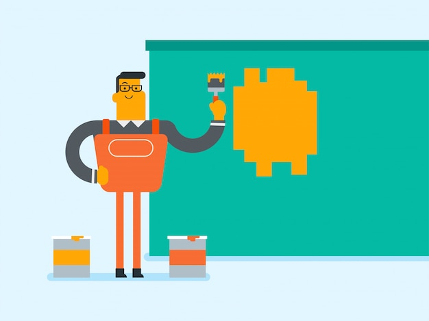 Young caucasian white painter painting a wall. Premium Vector