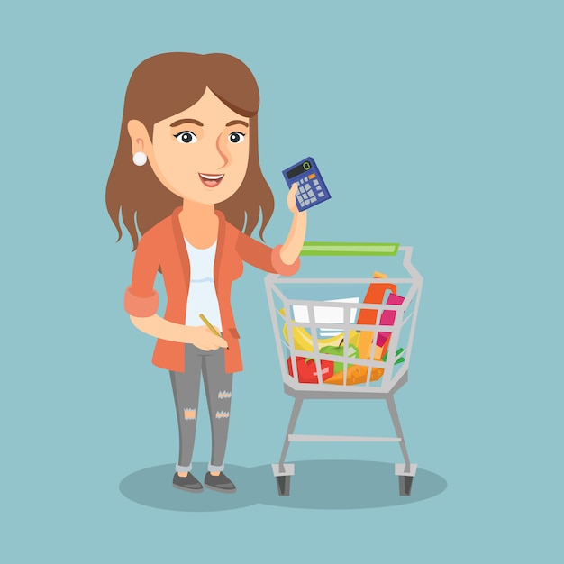 Young caucasian woman counting on a calculator. Premium Vector
