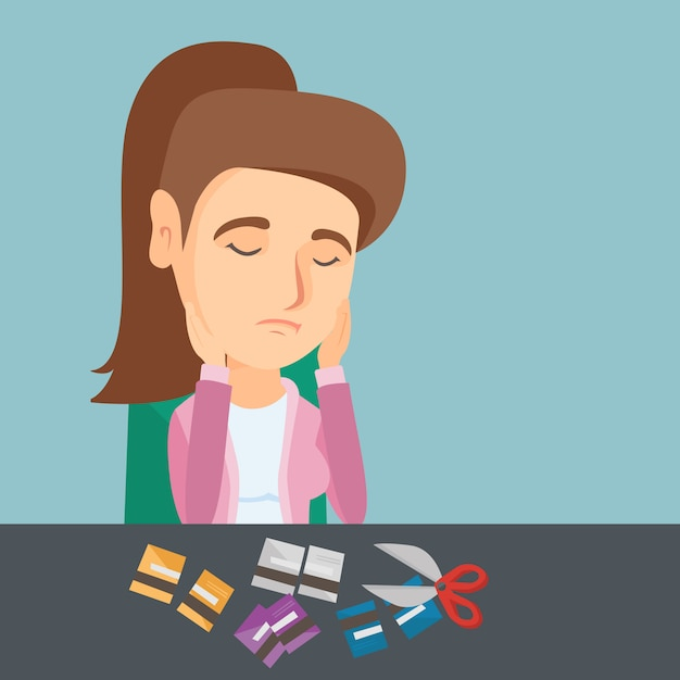 Young caucasian woman cutting credit cards. Premium Vector