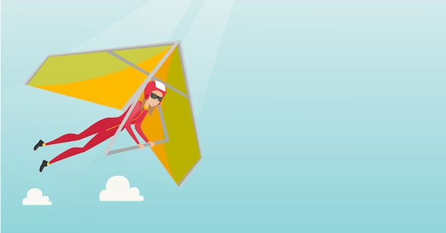 Young caucasian woman flying on hang-glider Premium Vector