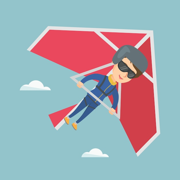 Young caucasian woman flying on hang-glider. Premium Vector
