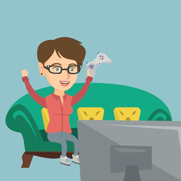 Young caucasian woman playing video game. Premium Vector