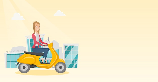 Young caucasian woman riding a scooter. Premium Vector