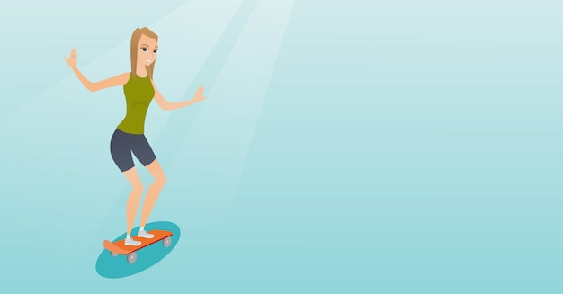 Young caucasian woman riding skateboard. Premium Vector