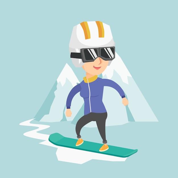 Young caucasian woman snowboarding. Premium Vector