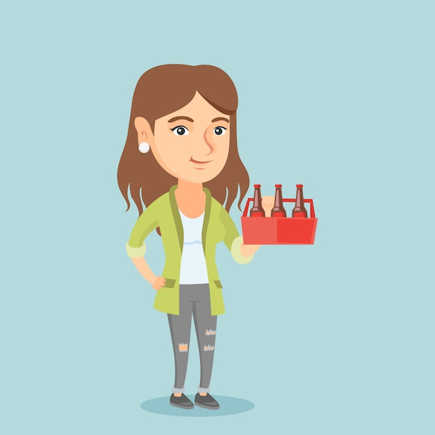 Young caucasian woman with pack of beer. Premium Vector