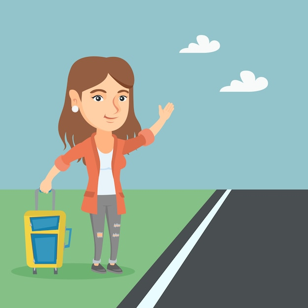 Young caucasian woman with a suitcase hitchhiking. Premium Vector