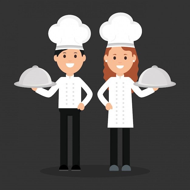 Young chef couple avatars characters Premium Vector