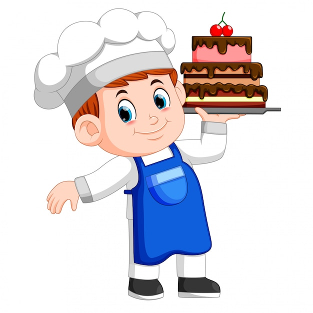 Young chef holds a tray with cake Premium Vector