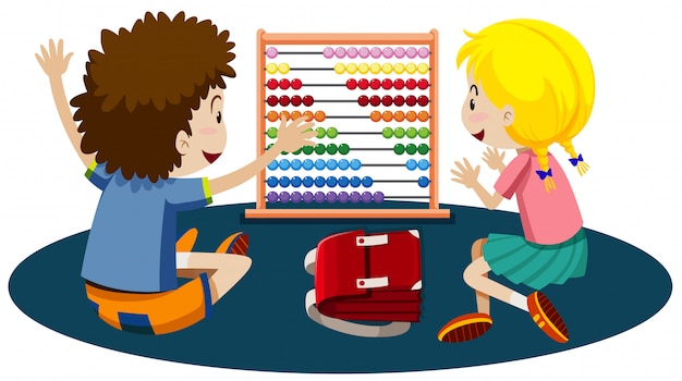 Young children playing with an abacus Free Vector
