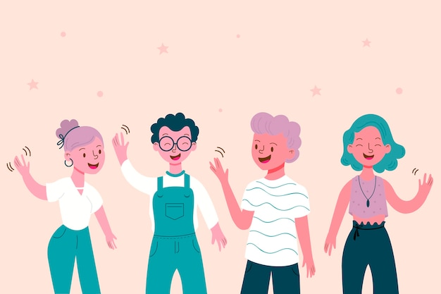 Young citizens waving hand Free Vector