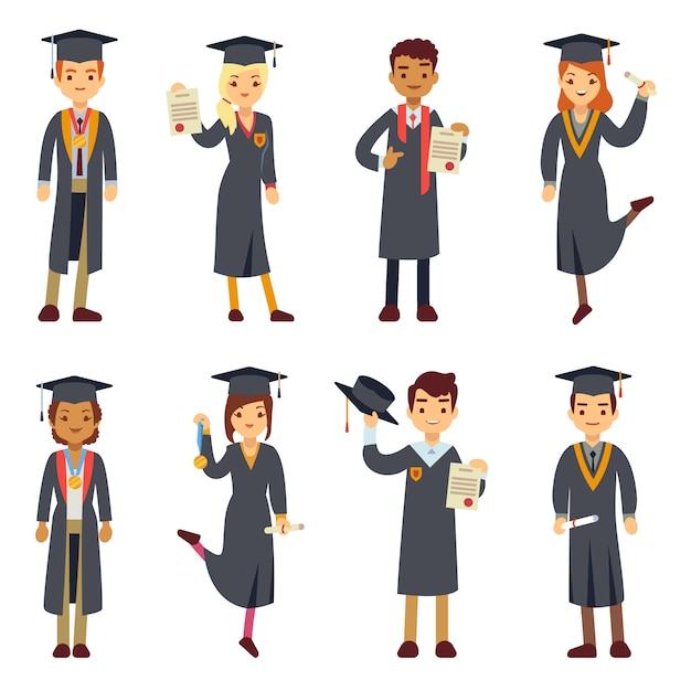 Young college graduate and university students characters set. Premium Vector