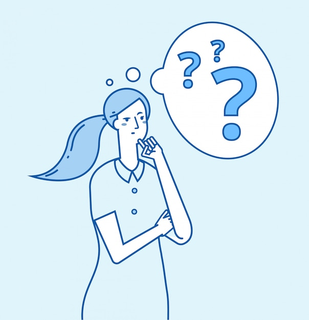 Young confused woman thinking Premium Vector