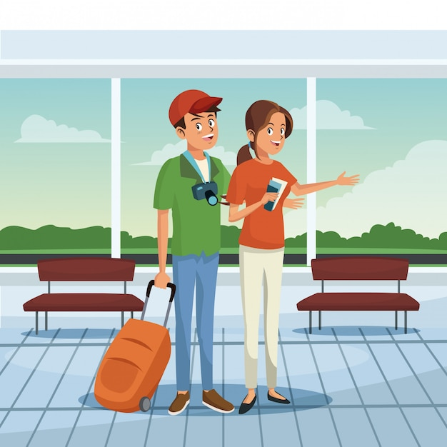 Young couple at airport Premium Vector