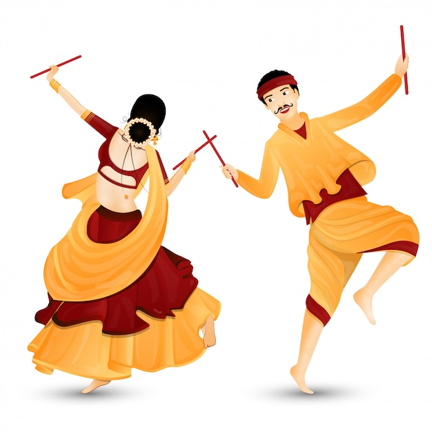 Young couple character dancing with dandiya sticks. Premium Vector