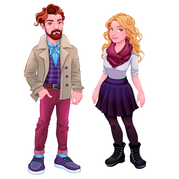Young couple character Free Vector