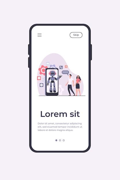 Coppia giovane in chat con assistente robotico sullo schermo dello smartphone. chatbot che aiuta i clienti con i loro problemi. modello di app mobile illustrazione vettoriale Vettore gratuito