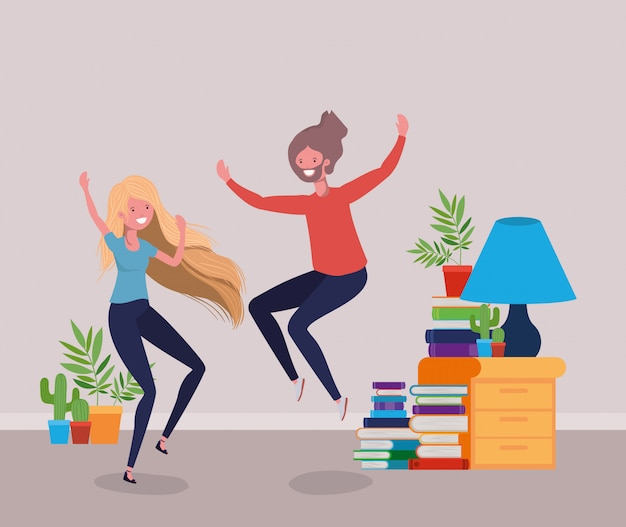 Young couple dancing in the livingroom Free Vector