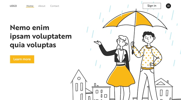 Молодая пара знакомства на улице в дождь Premium векторы