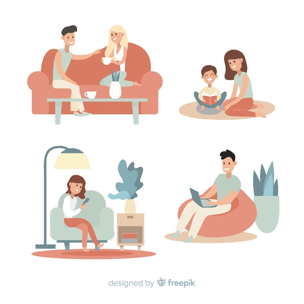 Young couple doing activities at home Free Vector