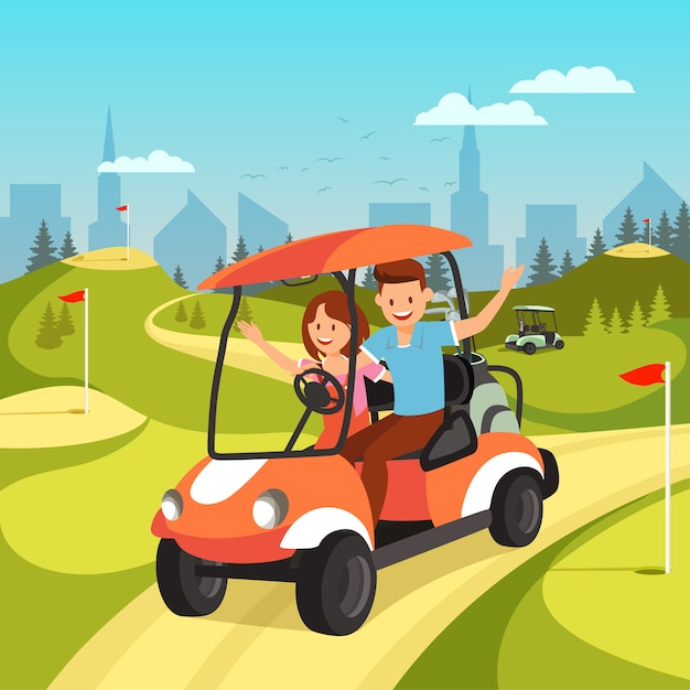Young couple driving by cart on green golf course. Premium Vector
