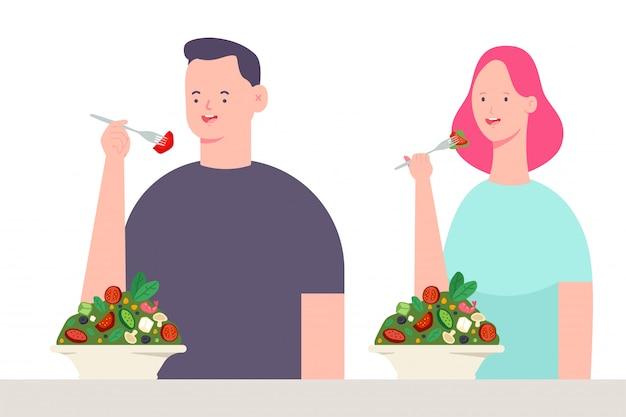 Молодая пара, едят салат. векторный мультипликационный персонаж мужчины и  женщины. изолированная иллюстрация здоровой еды   Премиум векторы