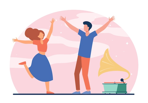 Young couple enjoying retro party. happy girl and guy dancing at gramophone flat vector illustration. entertainment, romance, fun concept Free Vector